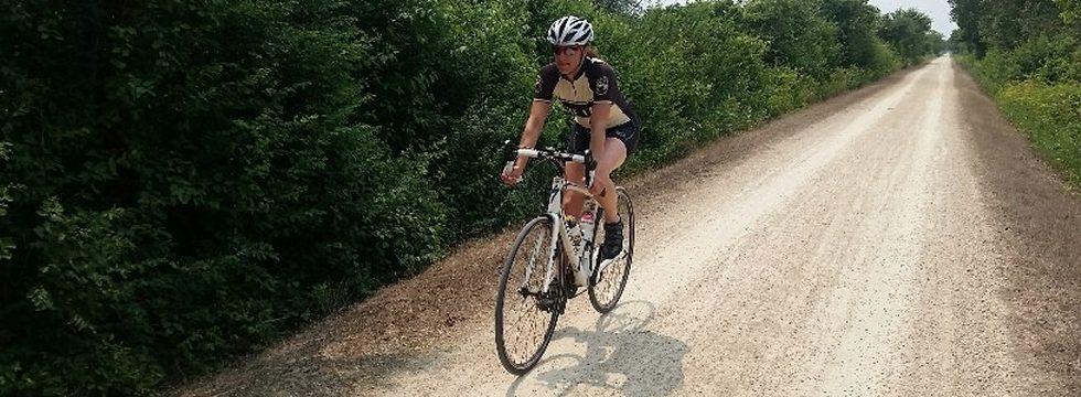 Riding bike on trail